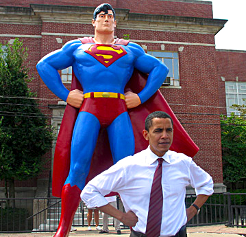 President Barack Obama with Superman