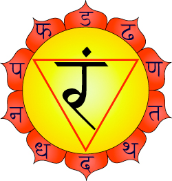 Manipura Chakra: By wikipedia:User:AndyKali, modified by User:Iṣṭa Devatā (wikimedia) [CC BY-SA 3.0 (http://creativecommons.org/licenses/by-sa/3.0)], via Wikimedia Commons